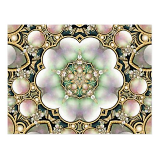 Pearls and Gold Kaleidoscope Postcards