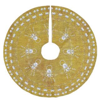 Pearls and Gold - Metallic Christmas Angel of Joy Tree Skirt