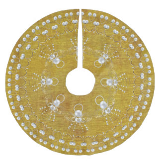Pearls and Gold - Metallic Christmas Angel of Joy Brushed Polyester Tree Skirt