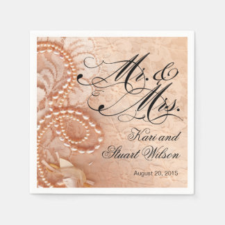 Pearls and Lace Mr. & Mrs. | peach Paper Napkin