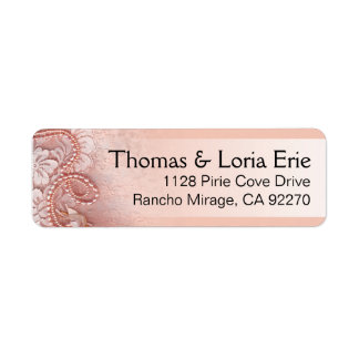 Pearls and Lace   peony pink Return Address Label