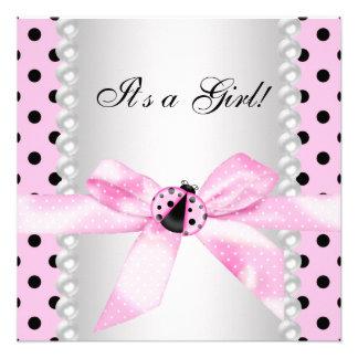 Pearls Black Pink Ladybug Baby Girl Shower Custom Invitation