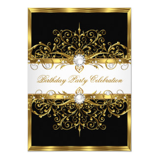 Pearls Black White Gold Elegant Birthday Party 11 Cm X 16 Cm Invitation Card