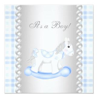 Pearls Blue Gingham Rocking Horse Baby Boy Shower 13 Cm X 13 Cm Square Invitation Card