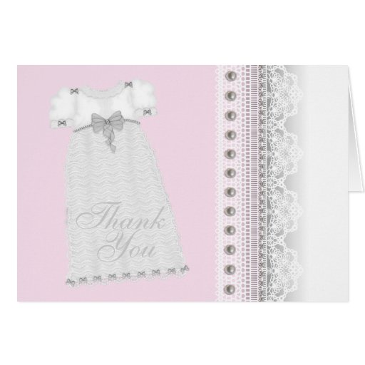 Pearls Gown Baby Girl Pink Christening Thank You Greeting Card