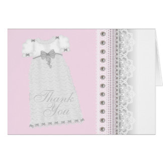 Pearls Gown Baby Girl Pink Christening Thank You Note Card