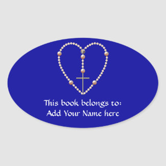 """""""Pearls"""" heart shaped Rosary Oval Sticker"""