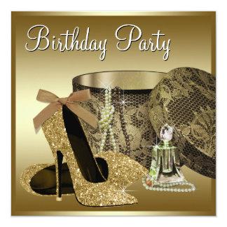 Pearls High Heel Shoes Black Gold Womans Birthday 13 Cm X 13 Cm Square Invitation Card