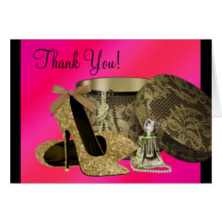 Pearls High Heel Shoes Hot Pink Card
