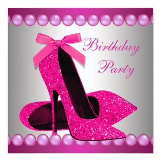 Pearls Hot Pink High Heels Shoes Birthday Party Card