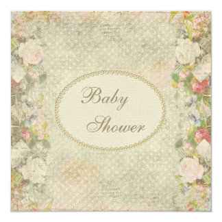 Pearls & Lace Shabby Chic Flowers Baby Shower Card