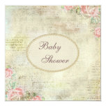 Pearls & Lace Shabby Chic Roses Baby Shower 13 Cm X 13 Cm Square Invitation Card