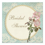 Pearls & Lace Shabby Chic Roses Bridal Shower 13 Cm X 13 Cm Square Invitation Card