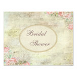 Pearls & Lace Shabby Chic Roses Bridal Shower 11 Cm X 14 Cm Invitation Card