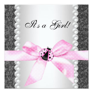 Pearls Ladybug Pink Black Baby Girl Shower 13 Cm X 13 Cm Square Invitation Card