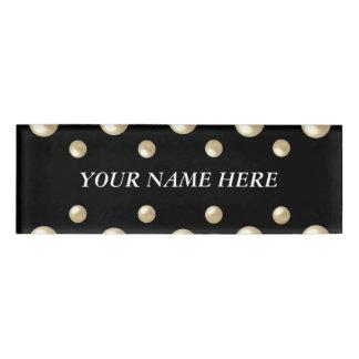 Pearls on Black Velvet Name Tag