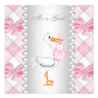 Pearls Pink Stork Baby Shower Custom Invites