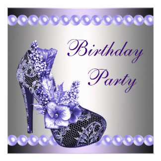 Pearls Purple High Heels Shoes Birthday Party Personalized Invitations