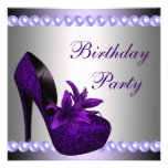 Pearls Purple High Heels Shoes Birthday Party Personalised Invitations