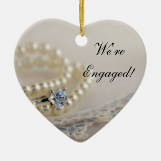 Pearls, Ring and Blue Lace Engagement Ceramic Ornament