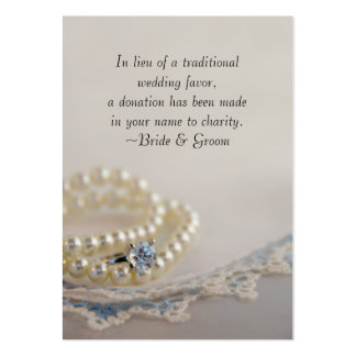 Pearls, Ring and Blue Lace Wedding Charity Favor Pack Of Chubby Business Cards