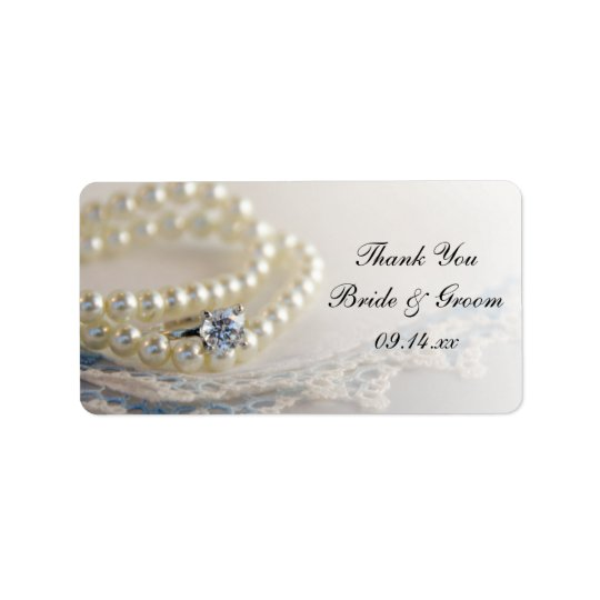 Pearls Ring Blue Lace Wedding Thank You Favour Label