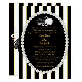 Pearls & Swans Black Striped Wedding Invitation