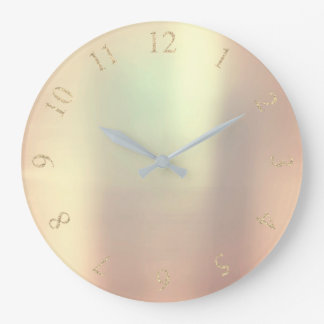 Pearly Copper Metallic Rose Gold US UK Numbers Large Clock