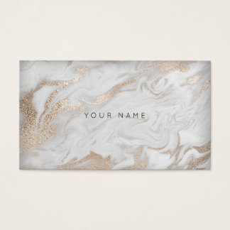 Pearly Ivory White Gold Gray Marble Glam Vip Business Card