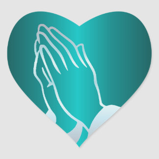 Pearly Praying Hands Heart Sticker