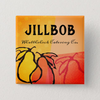 Pears fruit cooking class bakery catering name tag 15 cm square badge