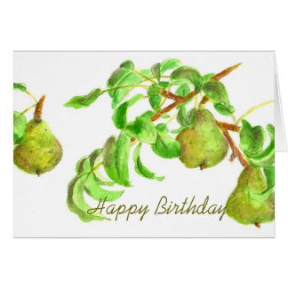 Pears Happy Birthday Watercolor Fruit Summer Green Card