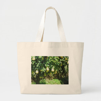 Pears on tree branches jumbo tote bag