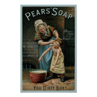 Pears Soap Boy Being Scrubbed Poster