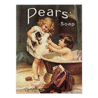 Pears Soap Kids Washing Dog Poster
