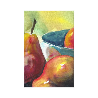 """Pears, watercolor on canvas  24"""" x 18"""", 1.5"""","""