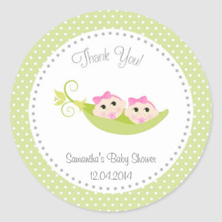 Peas In A Pod Baby Shower Sticker Green Twin Girls