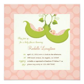 "Peas in a Pod Girl Twins Baby Shower Invitation 5.25"" Square Invitation Card"