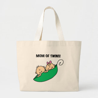 Peas in a Pod Mom of Twins Canvas Bags