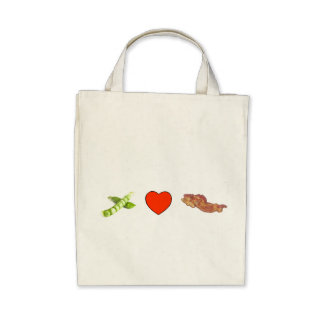 Peas, Love, Bacon Tote Bags