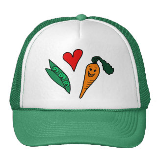 Peas Love Carrots, Cute Green and Orange Design Trucker Hats