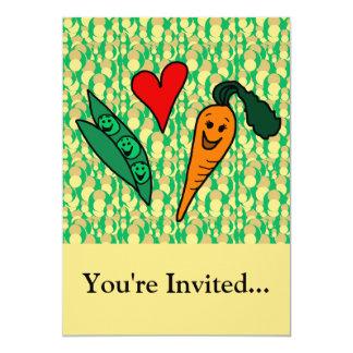 Peas Love Carrots, Cute Green and Orange Design Personalized Announcement