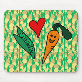 Peas Love Carrots, Cute Green and Orange Design Mouse Pad