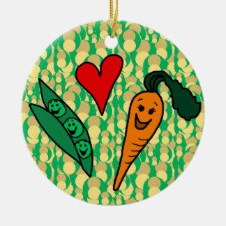 Peas Love Carrots, Cute Green and Orange Design Round Ceramic Decoration
