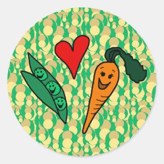 Peas Love Carrots, Cute Green and Orange Design Round Sticker