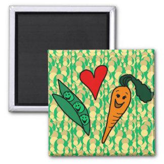 Peas Love Carrots, Cute Green and Orange Design Square Magnet