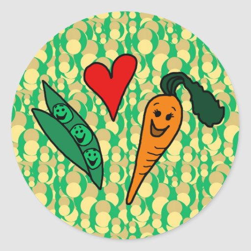 Peas Love Carrots, Cute Green and Orange Design Round Stickers