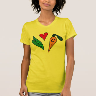 Peas Love Carrots, Cute Green and Orange Design T-Shirt