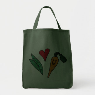 Peas Love Carrots, Cute Green Grocery Shopping Bag