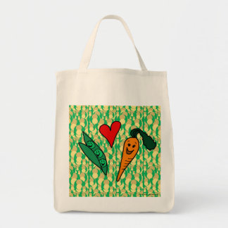 Peas Love Carrots, Reusable Grocery Shopping Bag